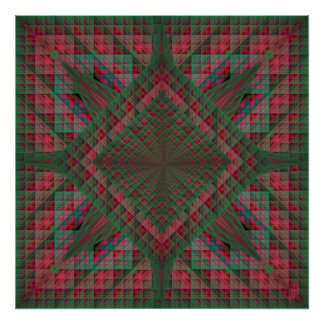 Serpinski's Squares Quilted Christmas Fractal Posters