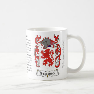 Serrano, the origin, meaning and the crest coffee mug