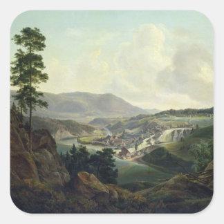 Serrería en Noruega, 1827 Pegatina Cuadrada
