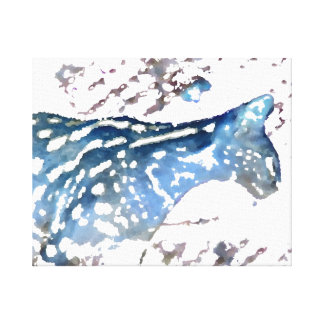 serval cat african feline watercolor blue stretched canvas prints