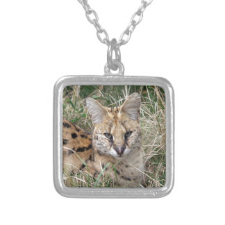Serval cat relaxing in grass square pendant necklace