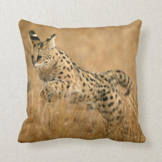 Serval (Leptailurus Serval) Jumping Throw Pillow