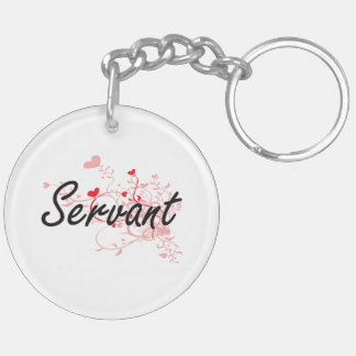 Servant Artistic Job Design with Hearts Double-Sided Round Acrylic Keychain