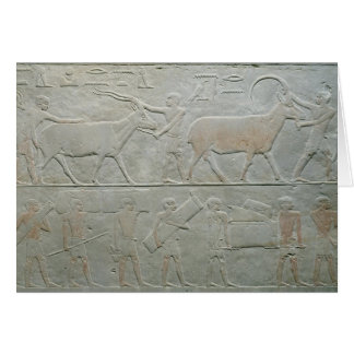 Servants driving an oryx and an antelope greeting card