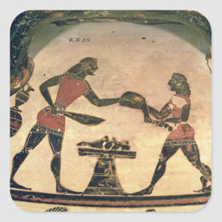 Servants Preparing Food for a Symposium, detail fr Square Sticker