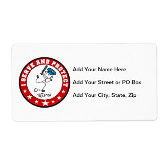 Serve and Protect Policeman Shipping Label