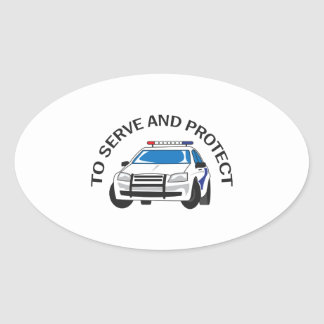 SERVE AND PROTECT OVAL STICKERS