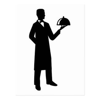 Server waiter cloche postcard