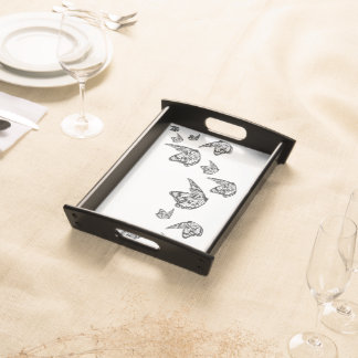 server with butterflies serving tray