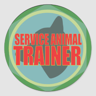 SERVICE ANIMAL DOG TRAINER CLASSIC ROUND STICKER