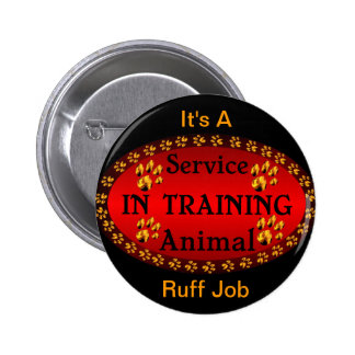 Service Animal In Training Red & Black Pinback Buttons