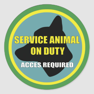 SERVICE ANIMAL OD DUTY DOG CLASSIC ROUND STICKER