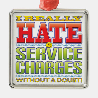 Service Charges Hate Face Silver-Colored Square Decoration