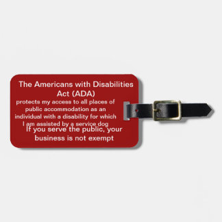 Service dog ADA law tag Tag For Bags