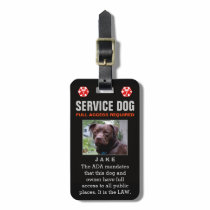 Service Dog - Black Full Access Required Badge Luggage Tag