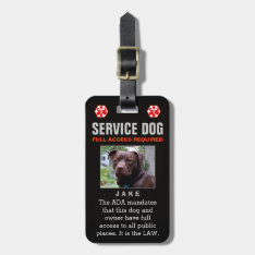 Service Dog - Black Full Access Required Badge Luggage Tag at Zazzle