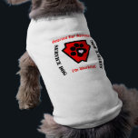 """Service Dog Customizable Super Hero Shield Tee<br><div class=""""desc"""">Special designs for special friends. Customizable for your needs. Perfect for all sorts of service and therapy dogs. Big black paw holds a small pink heart on a distinctive red shield. Change fonts,  font colors,  go nuts with it.</div>"""