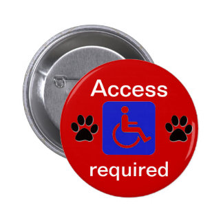 service dog handicapped symbol access required 2 inch round button