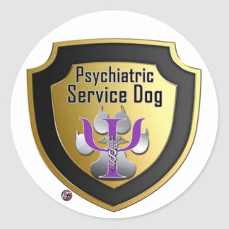 Service Dog Helpers Purple Space Classic Round Sticker
