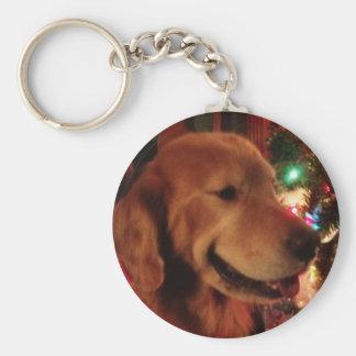 Service Dog Jonah & Christmas Tree Lights Keychain