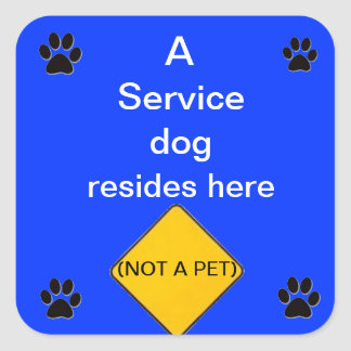 Service dog lives here blue sticker