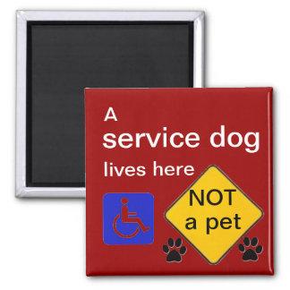 Service dog lives here disabled symbol 2 inch square magnet