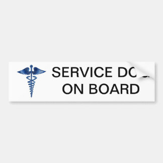 Service Dog On Board Bumper Sticker with Medical L