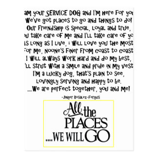 Service dog poem FNL BACK yellow Postcard