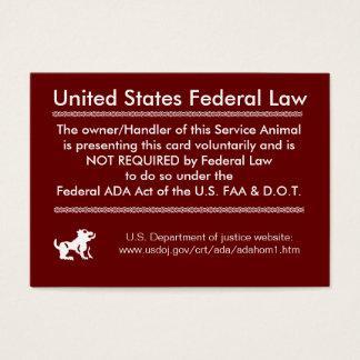 Service Dog Rights Card