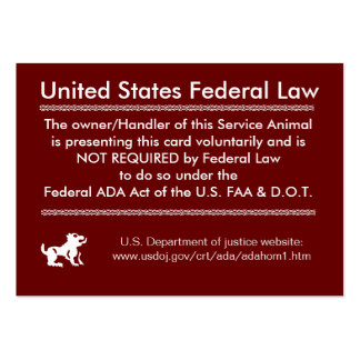 Service Dog Rights Card Large Business Cards (Pack Of 100)