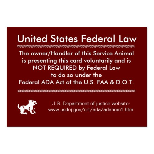 Service dog rights card large business cards pack of 100 zazzle for Service dog id template