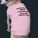 """SERVICE DOG TEE<br><div class=""""desc"""">A pink tee for a small girl who helps you through the day.  Service dog working and please don&#39;t pet printed on the back lets others know that your dog is not just a pet.</div>"""