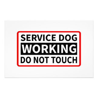 Service Dog Working Please Do Not Touch Stationery Paper