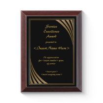 Service Excellence Award Plaque