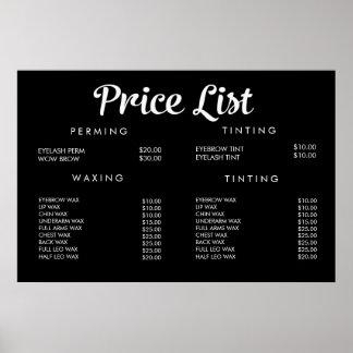 Service Price Menu Custom Printed Poster