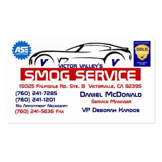 Servicio 1 de la niebla con humo, tarjetas de visita