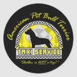 Servicio americano del taxi de Terrier de pitbull Pegatina Redonda