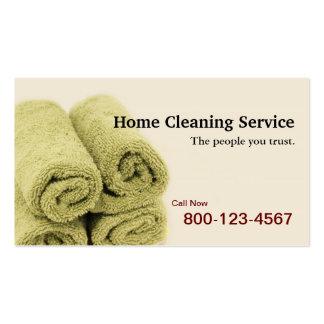 Servicio casero de la limpieza tarjetas de visita
