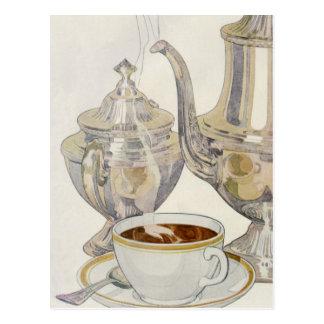 Servicio de café de plata del vintage tarjeta postal