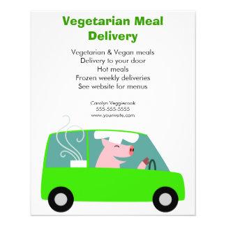 """Servicio de entrega vegetariano de la comida folleto 4.5"""" x 5.6"""""""