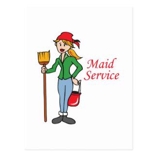 Servicio de la criada postales