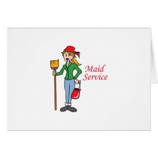 Servicio de la criada tarjeta de felicitación