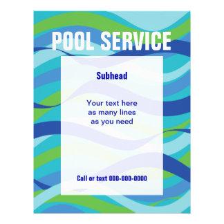 """Servicio de la piscina con el texto de encargo folleto 8.5"""" x 11"""""""