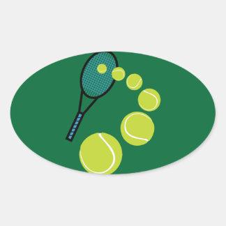 SERVICIO de la REBANADA de la FAN de tenis Pegatina Ovalada