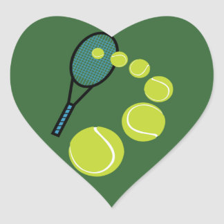 SERVICIO de la REBANADA de la FAN de tenis Pegatina En Forma De Corazón
