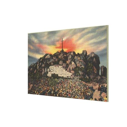 Servicio de la salida del sol de Pascua en Mt. Rub Impresiones En Lona