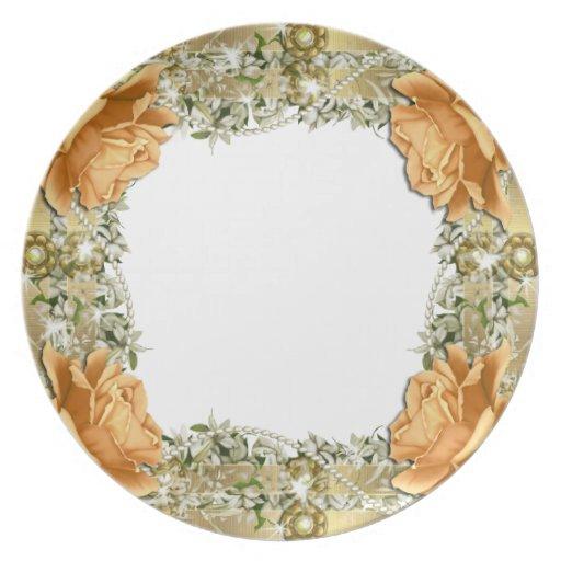 Servicio de mesa elegante del boda anaranjado del  plato de cena