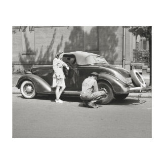 Servicio de reparación auto, 1942 impresion en lona