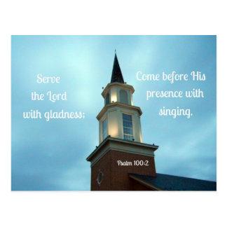 Servicio del 100:2 del salmo el señor con gladness tarjeta postal