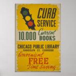 Servicio del encintado de la biblioteca pública de poster